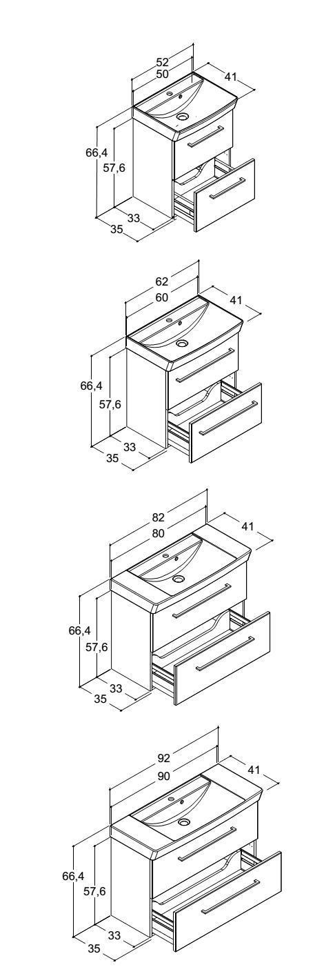 dansani mido waschtisch und unterschrank mit schubladen und griffen bep24. Black Bedroom Furniture Sets. Home Design Ideas