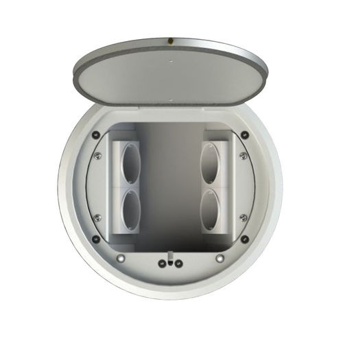 Round floor socket with lockable hinged lid (8604A)