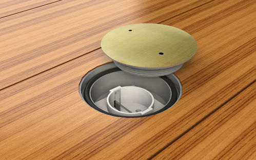 Floor socket round with screw cap (7701M)