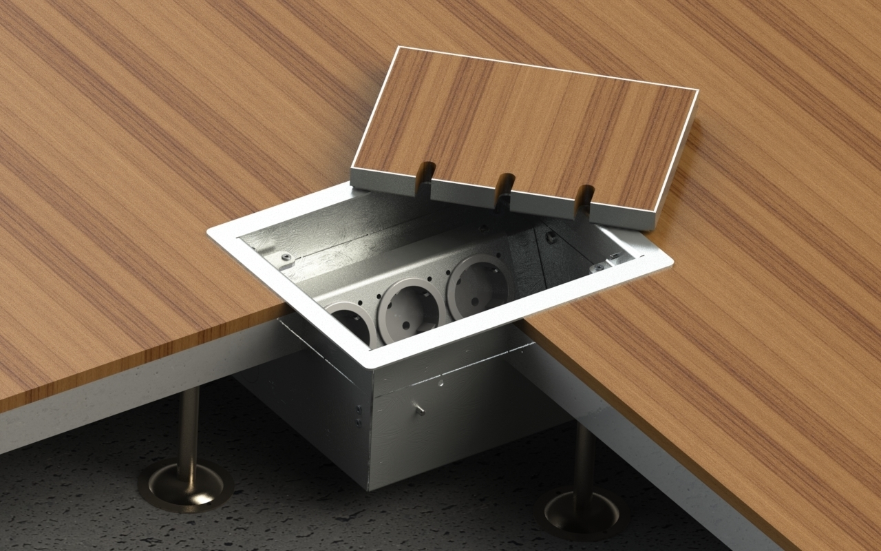 Hollow space floor box with lid to lay