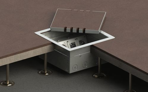 Floor socket for hollow space with hinged lid (8508B)