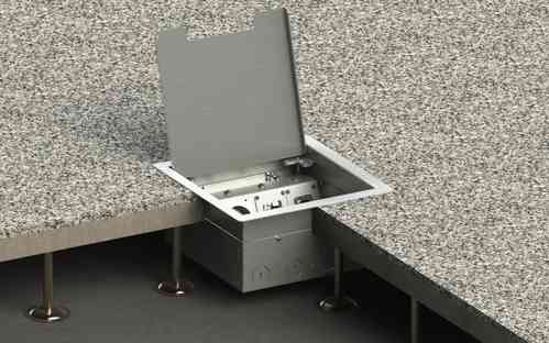 Floor socket for hollow space with hinged lid (8506E)