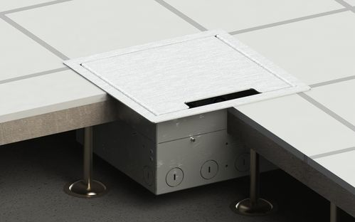 Floor socket for hollow space with hinged lid (8508E)