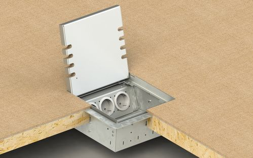 Floor socket adjustable in height, 6-fold for hollow space floor (8906H)
