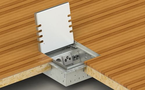 Floor socket adjustable in height, 8-fold for hollow space floor (8908H)