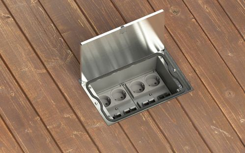 Floor socket made of solid cast aluminum with lid to lay on IP65 (8308A)