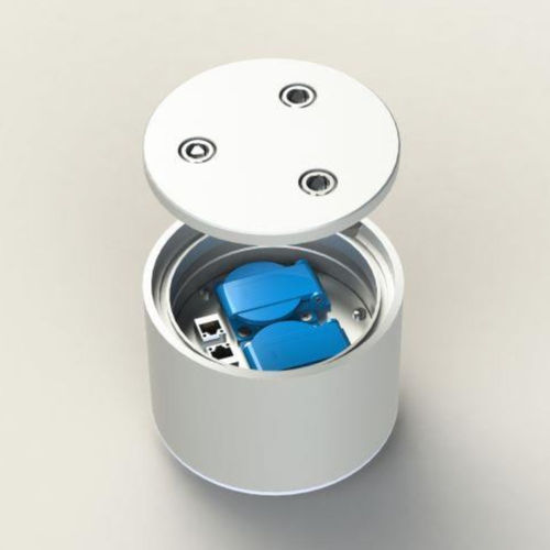 Floor socket round with lockable lid (7003A1)