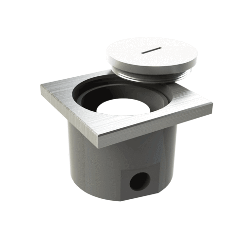 Floor socket rectangular with screw cap (107601A)
