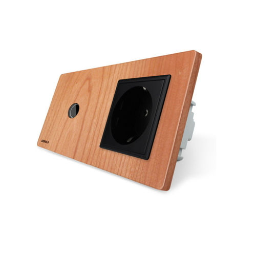 Touch dimmer and socket with cherry wood panel