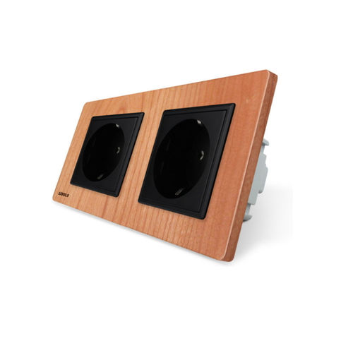 2-fold socket outlet with cherry wood panel
