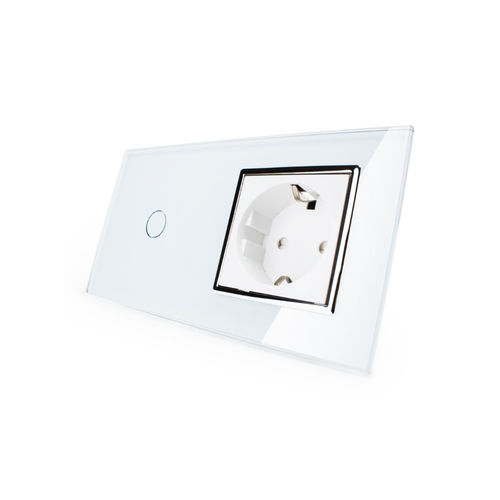 Touch dimmer light switch and socket outlet with glass blene white