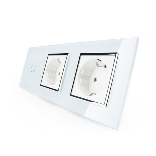 Touch light switch and 2 socket outlets with glass panel white