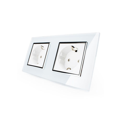 Socket 2 fold with glass cover white