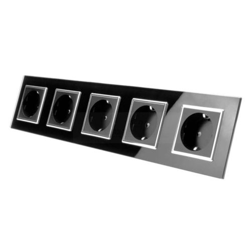Socket 5 fold with glass cover black