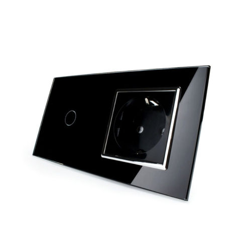 Touch light switch and socket outlet with glass blene black