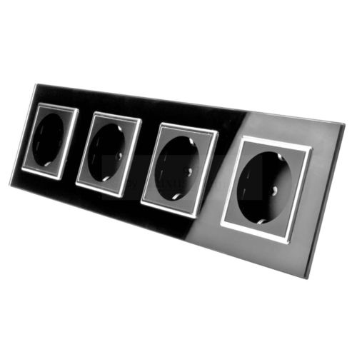 Socket 4 fold with glass cover black