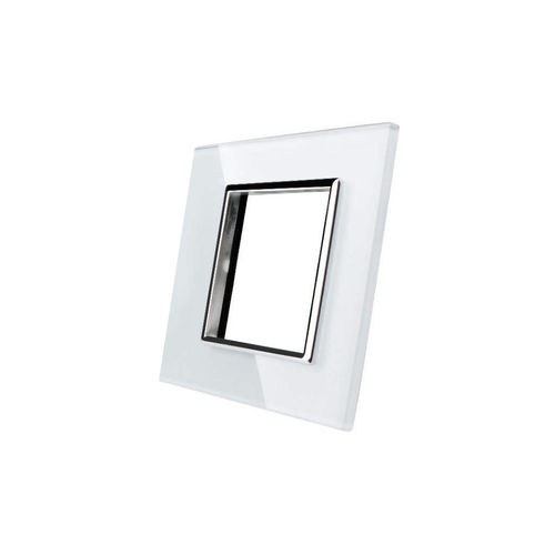 Glass cover 1-fold, for socket, white chrome