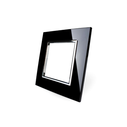 Glass cover 1-fold, for socket, black chrome