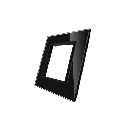 Glass cover 1-fold, for socket, black