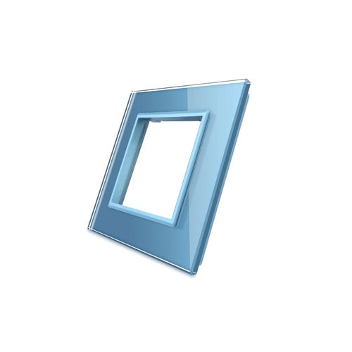 Glass cover 1-fold, for socket, blue