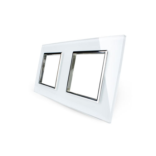 Glass cover 2-fold, for socket, white chrome