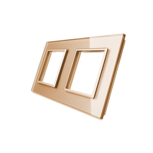 Glass cover 2-fold, for socket, gold