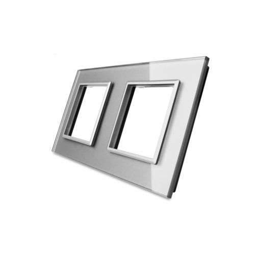 Glass cover 2-fold, for socket, grey