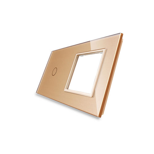 Glass cover 2-fold, 1x socket and 1x touch 1 gear, Gold