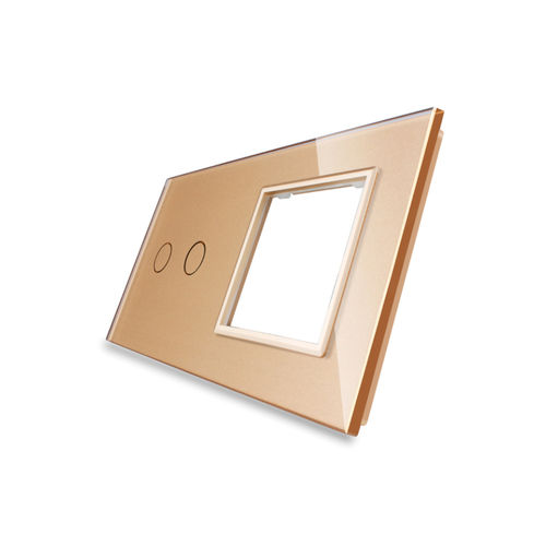 Glass cover 2-fold, 1x socket and 1x touch 2 gear, gold
