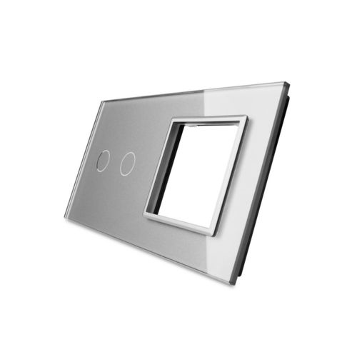 Glass cover 2-fold, 1x socket and 1x touch 2 gear, grey