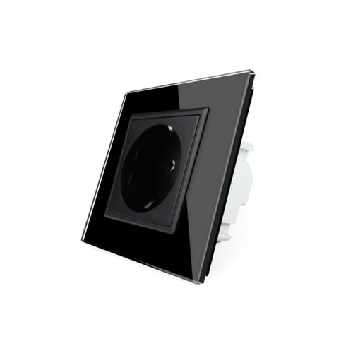 Socket 1 fold with glass cover black frame black
