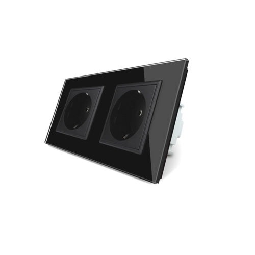 Socket 2 fold with glass cover black-black