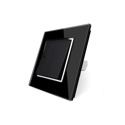 Rocker light switch and toggle switch  1 fold with glass cover black frame black chrome